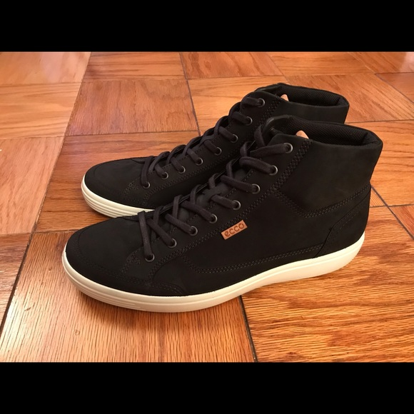 64ccebae ECCO Black Soft 7 High Top Tie Sneaker (Men's) NWT